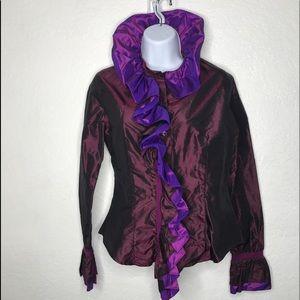 ETRO MILANO Jacket Blazer Silk Sz 42 6 Top